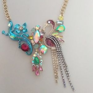 Betsey Johnson New Salamander & Bird Necklace